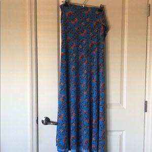 LuLaRoe Size XL Blue Floral Maxi Skirt